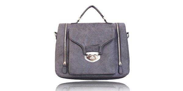 Dámská šedá kabelka se zámečkem London Fashion