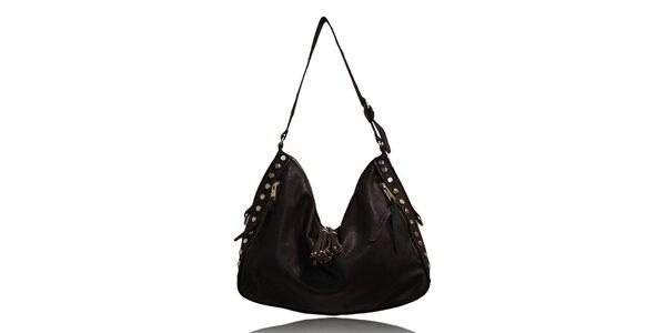 Dámská tmavě hnědá kabelka s cvočky a střapci London Fashion