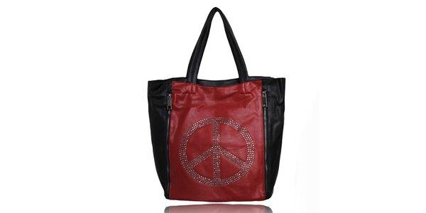 Dámská černo-červená kabelka s mírovým symbolem a malou taštičkou London Fashion