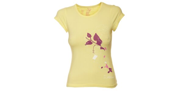 Dámské žluté tričko s fialovým potiskem Hannah