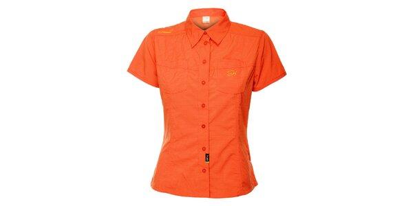 Dámská oranžová outdoorová košile s jemným vzorkem Hannah
