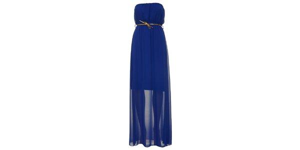 Dámské královsky modré šaty bez ramínek Liza Too