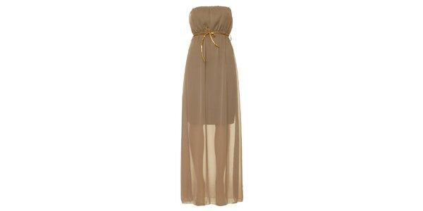 Dámské hnědošedé šaty bez ramínek Liza Too