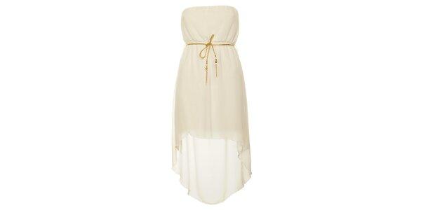 Dámské bílé šaty se zlatým páskem Liza Too