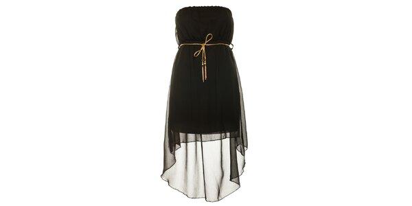 Dámské černé šaty se zlatým páskem Liza Too