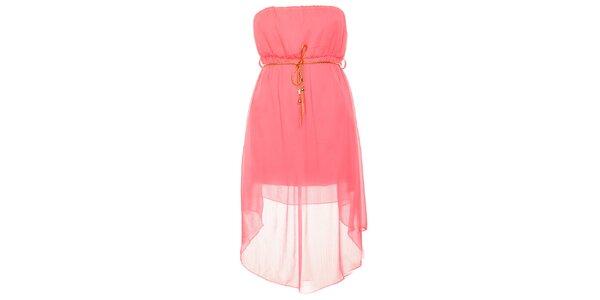 Dámské neonově růžové šaty se zlatým páskem Liza Too