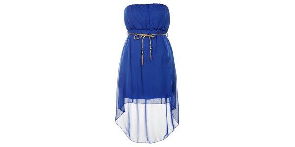 Dámské královsky modré šaty se zlatým páskem Liza Too