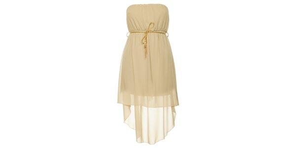 Dámské béžové šaty se zlatým páskem Liza Too