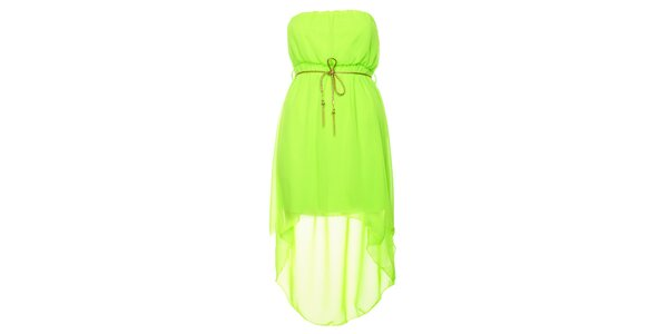 Dámské neonově zelené šaty se zlatým páskem Liza Too
