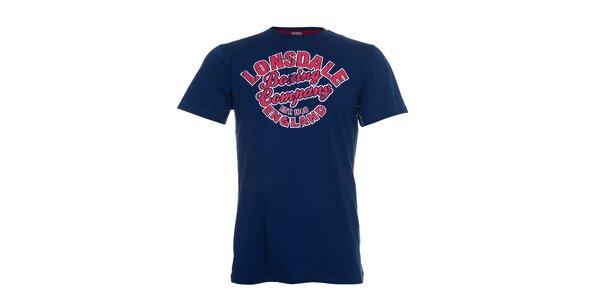 Pánské tmavě modré tričko Lonsdale s červeným potiskem