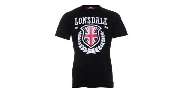 Pánské černé tričko Lonsdale s bílým potiskem a anglickou vlajkou
