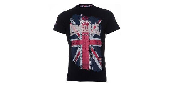 Pánské černé tričko Lonsdale s potiskem britské vlajky