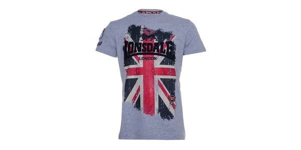 Pánské šedé melírované tričko Lonsdale s potiskem britské vlajky