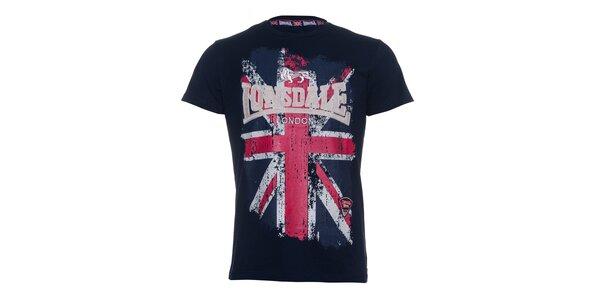 Pánské tmavě modré tričko Lonsdale s potiskem britské vlajky