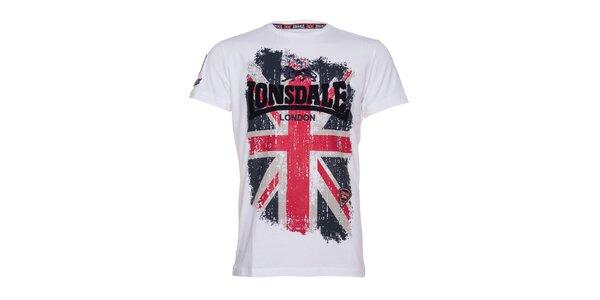 Pánské bílé tričko Lonsdale s potiskem britské vlajky