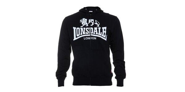 Pánská černá mikina Lonsdale se zipem a bílým potiskem