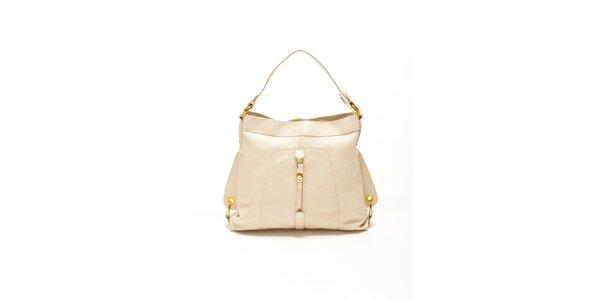 Dámská béžová kabelka se zlatými přezkami Renata Corsi