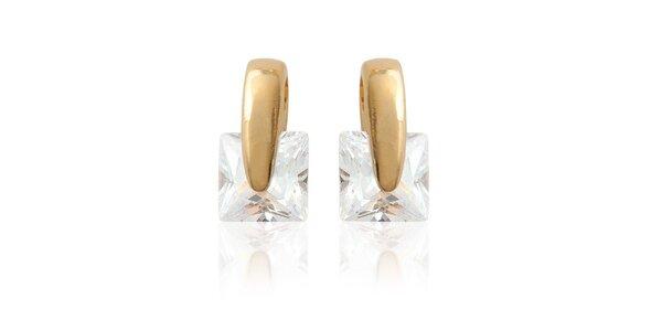 Zlaté náušnice s kamínky La Mimossa