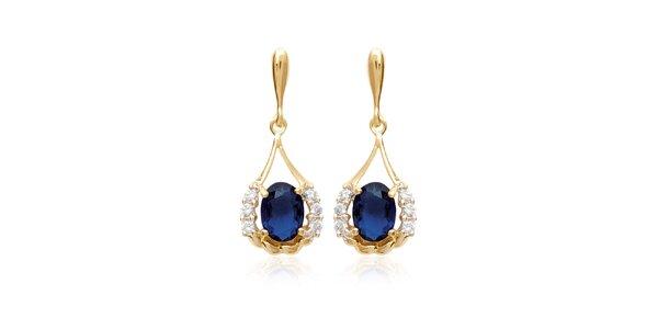 Zlaté náušnice s modrými kamínky La Mimossa