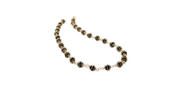 Zlatý náhrdelník s černými kamínky La Mimossa