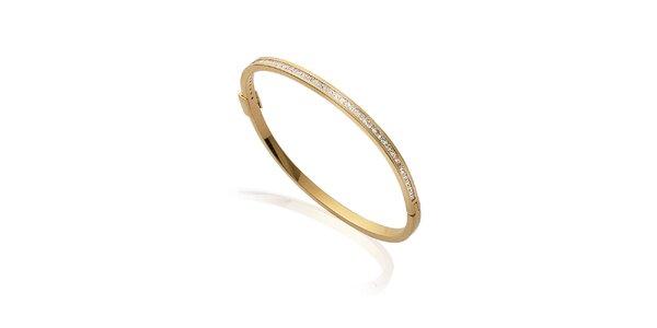 Tenký zlatý náramek s kamínky La Mimossa
