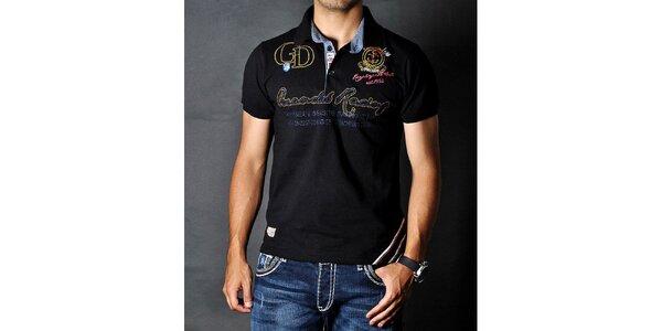 Pánské černé polo tričko s nášivkami Pontto