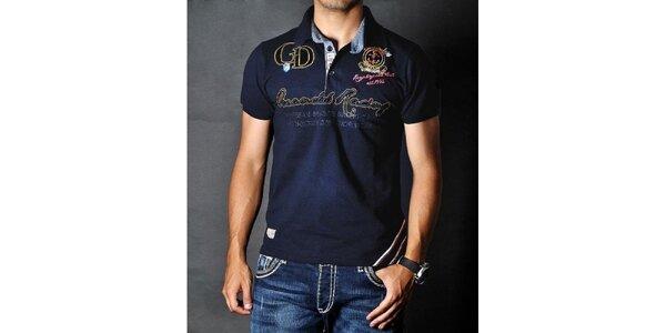 Pánské tmavě modré polo tričko s nášivkami Pontto