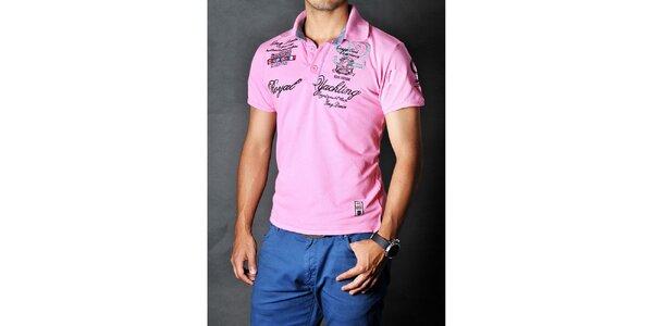Pánské růžové polo tričko Pontto