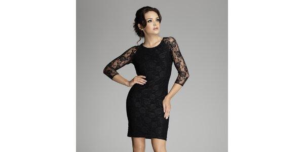 Dámské černé krajkové šaty Figl