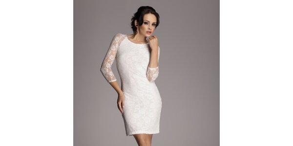 Dámské krémově bílé krajkové šaty Figl