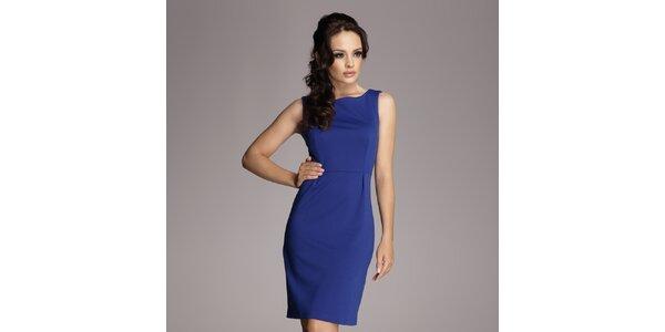Dámské modré pouzdrové šaty bez rukávů Figl