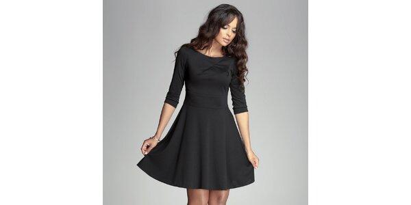 Dámské černé šaty s kolovou sukní Figl