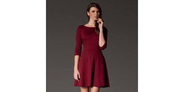 Dámské bordó šaty s kolovou sukní Figl