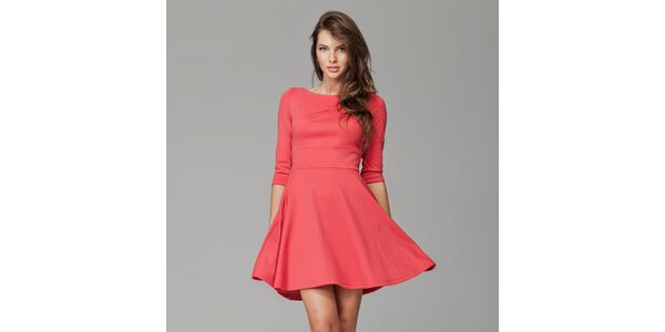 Dámské korálově červené šaty s kolovou sukní Figl
