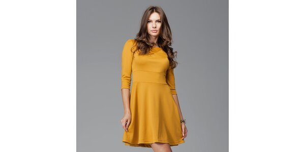 Dámské žluté šaty s kolovou sukní Figl