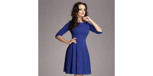 Dámské modré šaty s kolovou sukní Figl