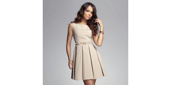 Dámské béžové šaty se skládanou sukní Figl