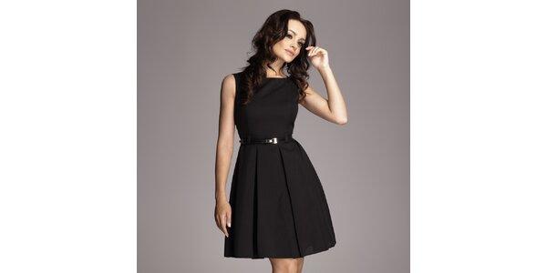 Dámské černé šaty se skládanou sukní Figl