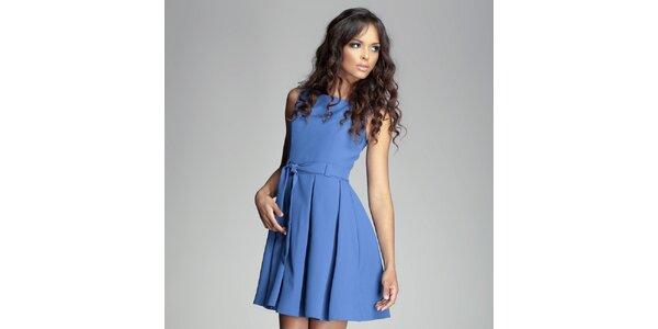 Dámské modré šaty se skládanou sukní Figl