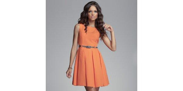 Dámské oranžové šaty se skládanou sukní Figl