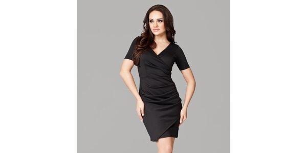 Dámské černé zavinovací šaty s krátkými rukávy Figl