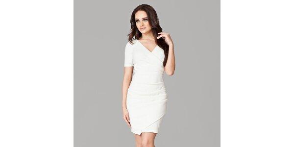 Dámské krémově bílé zavinovací šaty s krátkými rukávy Figl