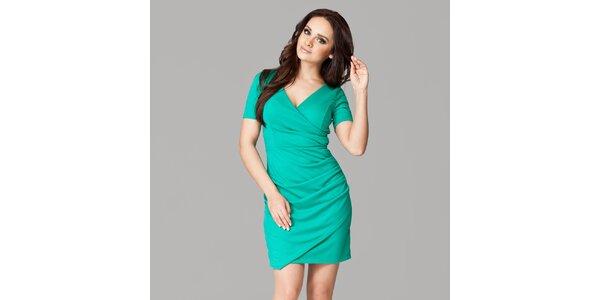 Dámské zelené zavinovací šaty s krátkými rukávy Figl
