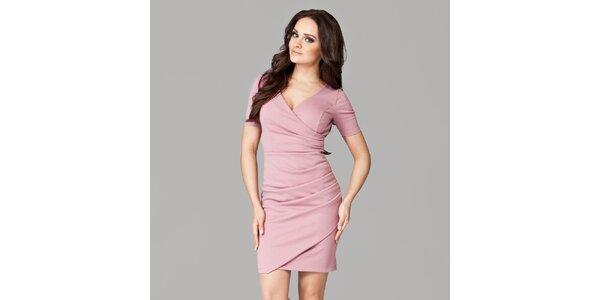 Dámské růžové zavinovací šaty s krátkými rukávy Figl