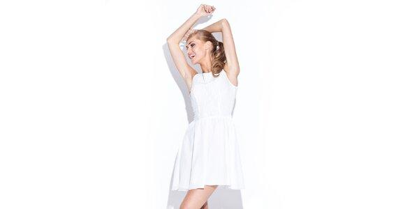 Dámské sněhobílé šaty s kolovou sukní Figl