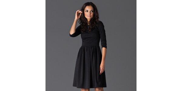 Dámské černé šaty ke kolenům Figl