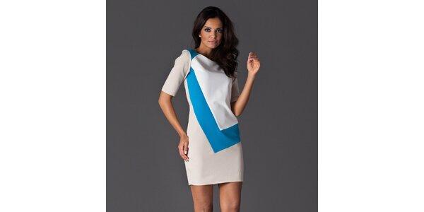 Dámské bílé šaty se modrým detailem Figl