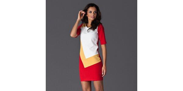 Dámské červeno-bílé šaty se žlutým detailem Figl
