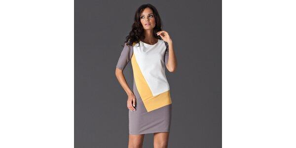 Dámské šedo-bílé šaty se žlutým detailem Figl
