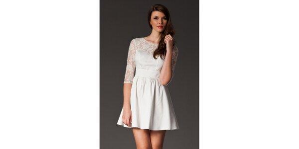 Dámské sněhobílé šaty s krajkou Figl